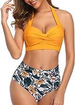 Tempt Me 女式復古泳衣兩件套復古吊帶褶高腰比基尼