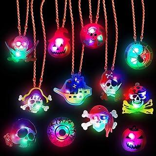 AMENON 12 件装万圣节 LED 发光项链儿童礼品袋填充礼品万圣节生日派对礼品闪烁夜光万圣节派对用品橡胶鬼南瓜骨架