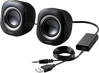 Elecom宜丽客 扬声器 USB供电 4W 紧凑型 黑色 MS-P08UBK