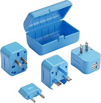 Lewis N Clark Adapter Plug Kit with 2.1a Dual USB Charger 蓝色 均码