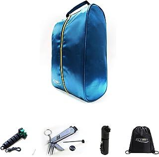 POSMA SB030C 高尔夫 36.5 厘米 X 19.5 厘米潜水鞋包套装,带高尔夫湿毛刷 + 尼龙高尔夫球杆楔形鞋清洁刷 + 6 合 1 高尔夫多功能多功能 多合一高尔夫球工具+收纳袋