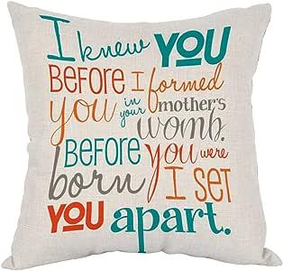"Moslion 鸟枕头,家居装饰抱枕枕套 两只鸟 带花棉麻垫适用于沙发/卧室/客厅/厨房/汽车 45.72 x 45.72 cm 方形枕套 COLOR 05 18""x18"" ANOBIS-PC05"