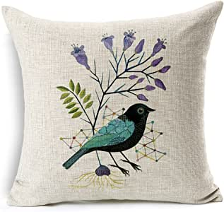 Hi-Shop 45.72 X 45.72 厘米棉麻装饰抱枕套靠垫套手绘绘画鸟印花枕套 5.08 厘米 18''x18''