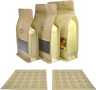 一套 50 个组合尺寸牛皮边三角片半透明窗立拉链袋和配套贴纸 棕色牛皮纸 Assorted Size