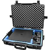 Casematix 防水硬质游戏控制台保护套兼容 PS4 Pro,2 个 Playstation 4 Pro 双震动控制器或无线移动移动移动移动和线缆,仅含手机壳