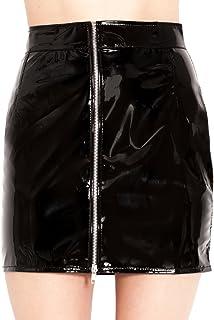 Honour PVC 银色拉链迷你裙 - 黑色