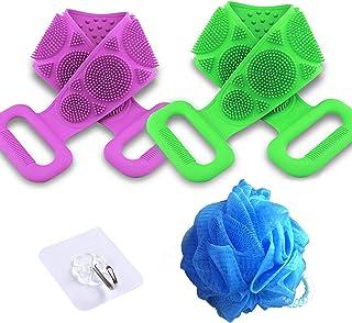淋浴用背部刷子 2 件装,硅胶身体刷,软淋浴刷带长,沐浴刷用于背部清洁,背部按摩刷