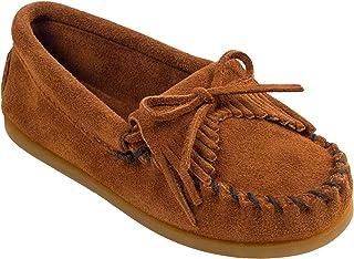 Minnetonka Kilty Suede Moc 平底鞋(幼儿/小童/大童) 棕色 4 M US 儿童