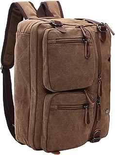 Mygreen 敞篷笔记本电脑邮差包 背包帆布背包 公文包 书包 咖啡色-大号 15 Inch Laptop