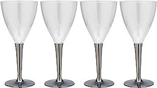 クリンプ 轻盈不易破裂 プラスチックワインカップ 4个装 银