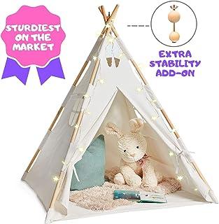 EQOYA 儿童帐篷带灯光 – 纯棉儿童帐篷帐篷室内适合男孩和女孩,婴儿和幼儿 – 非常适合儿童户外游戏帐篷小便 – 坚固舒适的Tipi 游戏屋