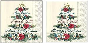 圣诞节假日一次性派对用品 Joy-Love-Peace Luncheon Napkins