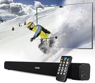AKIXNO 电视条形音箱,3 均衡器模式家庭影院音频电视扬声器,24 英寸无线/有线蓝牙立体声条形音箱,光学/RCA/线路输入连接,壁挂式,遥控器(24 英寸)