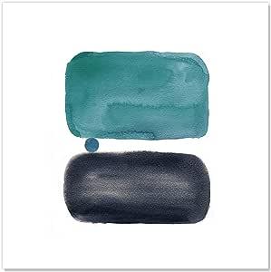 """Casa Fine Arts 复古元素 Teal III 中世纪现代抽象水彩档案艺术印刷品,25.4 厘米 x 25.4 厘米,蓝色 蓝色 20"""" x 20"""" 43135"""