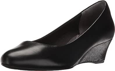 Rockport Total Motion Catrin 女士坡跟鞋 黑色皮革 5 M US