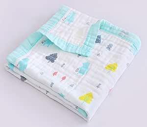 Jay & Ava 婴儿平纹细布毛毯 *棉 4层 柔软 防* 透气被子 幼儿园和婴儿床毯 完美 绿熊 CB-001