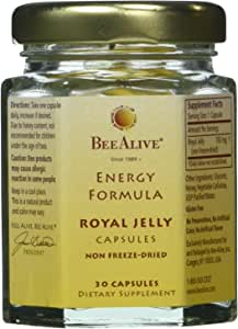 BeeAlive Energy Formula Royal Jelly Gluten-Free Vegetarian Capsules - 3 Month Supply