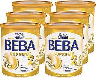 Nestlé BEBA雀巢貝巴 SUPREME 2段嬰兒后續奶粉:適合6個月以上嬰幼兒 即沖即飲 富含水解蛋白, 6罐裝 (6 x 800g)(不含助溶劑,沖泡需用力搖,沖后有結晶非品質問題,請放心食用)