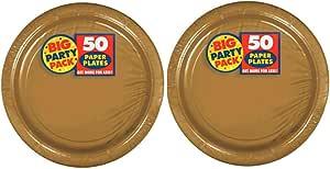 Amscan 大型派对装餐盘 金色 100份 14194630