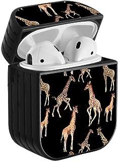 兼容 Airpods 2 & 1,防震便携式保护硬质保护套,带颈带 - 黑色背景上的长颈鹿