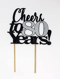 All About Details Cheers to 80 岁! 蛋糕装饰,1 件、生日、周年纪念、派对装饰、闪光装饰 黑色和银色