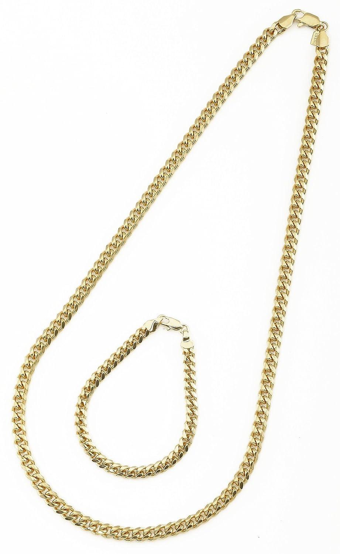 羷�8_金色古巴手羷2mm 宽项链和手镯套装