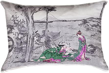 ArtVerse Katsushika Hokusai 日本 Courtesan 绿色 35.56 x 50.80 厘米(带枕套)普拉-仿麂皮双面印花带隐藏拉链,45.72 x 45.72 厘米