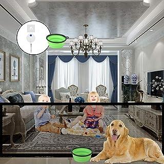 魔术狗门,2020 品牌穿孔宠物和婴儿*门便携式折叠网眼魔术防护装置,可随处安装,180.95 x 71.88 厘米(厘米)带 4 套螺丝,12 个牢固挂钩 1 个折叠狗碗(黑色)