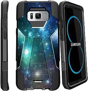 双层 MINITURTLE 手机壳与三星 Galaxy S8 兼容[重型减震支架系列] 柔软 TPU 和硬质 PC 坚固双层手机壳带支架4326446353 Blue Space Specs