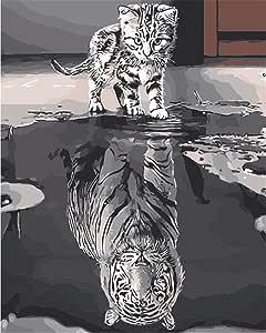 Komking DIY 油画,数字套件,适合成人初学者,画布创意画,40.64cm x 50.80cm Cat Or Tiger Frameless