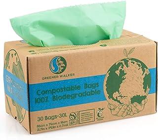 Greener Walker * 可堆肥垃圾袋,7.9 加仑 - 30 袋,ASTM D6400 BPI 可生物降解食品厨房垃圾袋