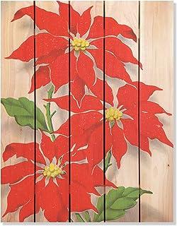 Gizaun Art RP2836 Red Poinsettia Cedar Christmas Wall Art, 28 by 36-Inch