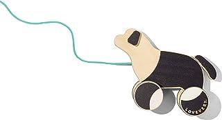 Lovevery 拉小狗 - 木制推拉玩具,黑色/白色/天然木材