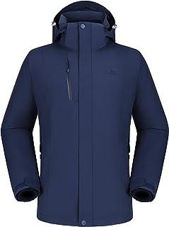 Camel 户外夹克男式冬季滑雪夹克风衣 3 合 1 连帽雨衣 适合旅行登山徒步旅行 2.0