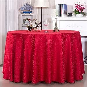 QsyyHome *店餐厅长方形家庭桌布会议宴会圆形桌布布面料欧洲 红色 Diameter: 126 inch(320cm)