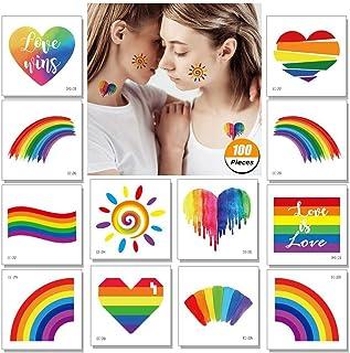 ZYXY Pride 纹身 临时彩虹旗 贴纸 适用于自豪的Parades 节日防水 身体油漆可拆除 ZYXY