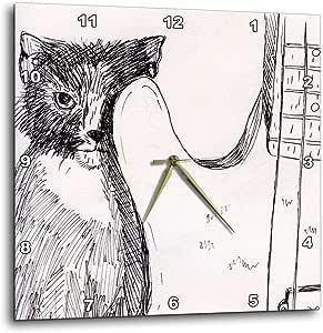 3dRose dpp_156018_1 Cat Hiding Behind Bass Guitar Sketch-Wall Clock, 10 by 10-Inch