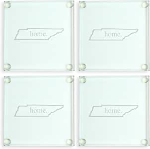 Cathy's Concepts Alabama Home State Glass Coasters, Clear 透明