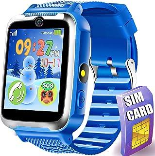 儿童智能手表手机 - 儿童游戏智能手表带 SIM 卡,数字腕表带触摸屏相机双向呼叫 SOS 游戏手表适合儿童男孩女孩幼儿圣诞节生日节日玩具礼物