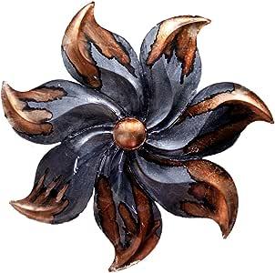 "Heather Ann Creations Large Starburst Flower Shaped Modern Metal Hanging Decorative Wall Sculpture, 29.2""H x 29.2""W, Grey/Copper"