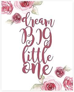 Dream Big Little One 装饰,印花,花卉印花,梦想大墙标牌,婴儿幼儿园墙壁装饰儿童卧室装饰,儿童海报引文艺术品,Dream Big Little One 墙水彩花卉 白色 16x20 PRIdream006ENPinCV1620.m