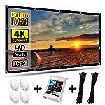 AIEX 120 英寸 16:9 4K 高清投影仪屏幕便携式可折叠防折痕前后视频投影屏幕室外室内 3D 电影投影机屏幕适用于家庭影院办公室双面投影