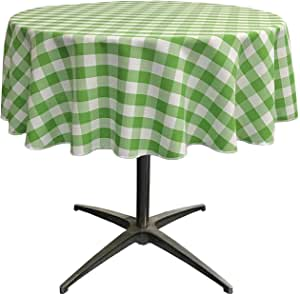 LA Linen Poly Checkered Round Tablecloth, 58-Inch, Lime/White