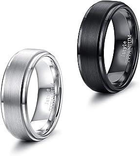 Jstyle 2 件钛合金戒指 男女结婚订婚承诺戒指 酷炫简约戒指 戒指 8 毫米 宽 尺寸 7-14 黑色/银色