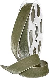 Morex 丝带 01225/10-687 尼龙天鹅绒丝缎缎带,2.22 厘米 x 27.94 码,卡其色