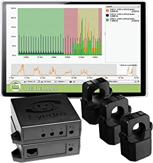 Eyedro 商用电量监测仪 – 3相(多相)功率监测,提供每日、每周和每月的功耗报告以及电费估计值 EBWEM1-LV