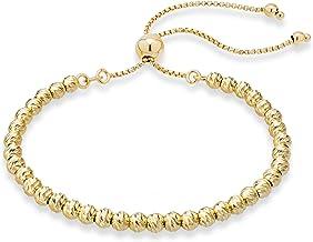 Miabella 925 純銀鉆石切割可調節寶石 4 毫米珠子手鏈女士手工意大利串珠鏈手鏈,白色或黃色