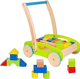 Toysters 木制嬰兒學步車和積木拼圖推車 | 木推拉玩具,適合幼兒男孩和女孩 | 嬰兒活動中心可以提高寶寶學習如何走路的信心