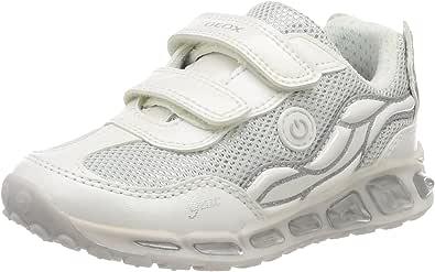 Geox Girls' J Shuttle C Low-Top Sneakers, Silver (White/Silver), 11 UK