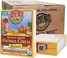 Earth's Best 有机燕麦米粉-香蕉味227g *12盒 (产地美国或德国,随机发货)[跨境自营]包邮包税